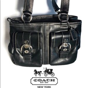 Coach Soho F08A09 Black Silver Leather Satchel